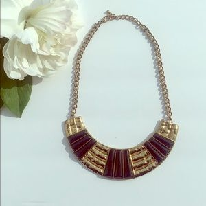 Gold and Black color statement necklace